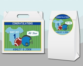 Football Tailgate Helmet Field Ball   Gift Bag Labels Gable Box Stickers Personalized Custom Unique Birthday Party Favor Supplies