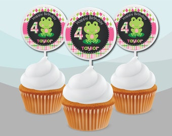 Decoration Personalized Custom Little Preppy Leap Frog Chalkboard Girl Pink Green Plastic Cupcake Picks Signs Birthday Baby Shower Party