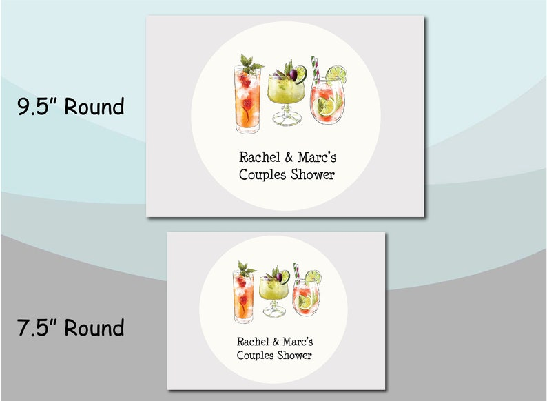 Colorful Cocktail Martini Drinks Watercolor Birthday Bridal Couples Shower Anniversary Party Cake Cupcake Topper Pick Personalized Candle