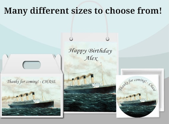 Gift Bag Labels Gable Box Stickers Unique Birthday Party Favor Supplies Personalized  Custom Made Titanic Scene Travel