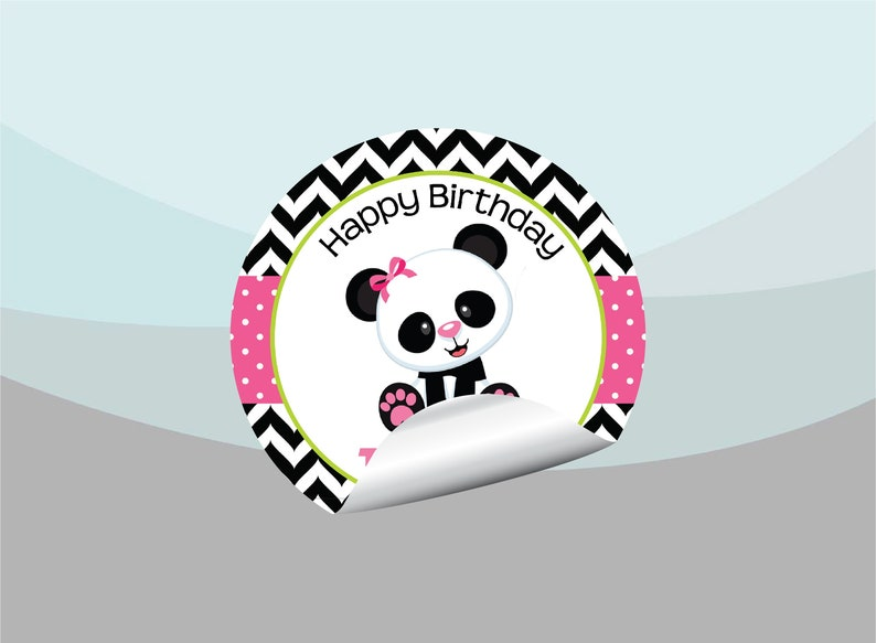 Panda Bear Pink Black Green Gift Bag Labels Gable Box Stickers Unique Baby Shower Birthday Party Favor Supplies Personalized  Custom PA100
