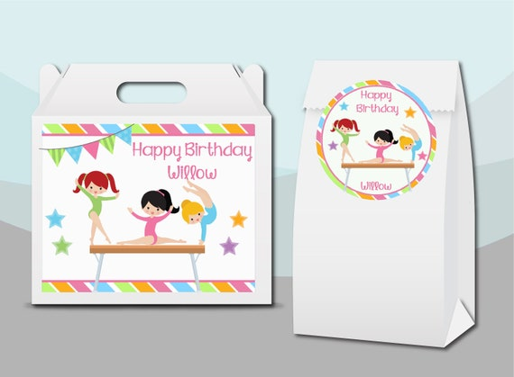 Colorful Gymnastics Gymnast Girls Athlete  |Gift Bag Labels Personalized Unique Birthday Party Favor Supplies Gable Box Stickers