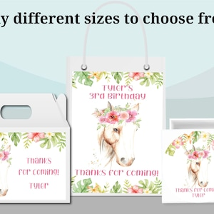 Gable Box Stickers Beautiful Personalized Pink Horse With Flower Floral Watercolor |Gift Bag Labels Birthday Party Favor Supplies