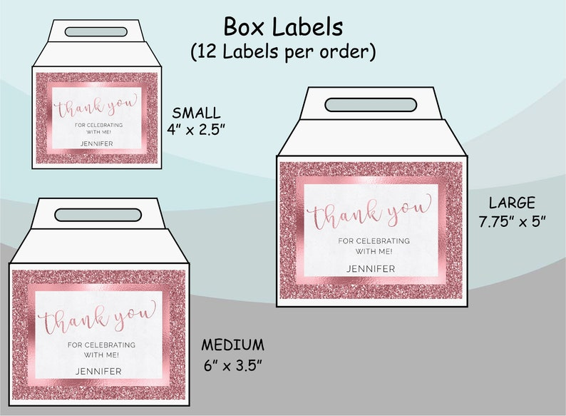 Luxury Pink Glam Glitter Any Years 40 50 60 70 Birthday Baby Bridal Shower Party  Gift Bag Labels Gable Box Stickers  Favor Supplies