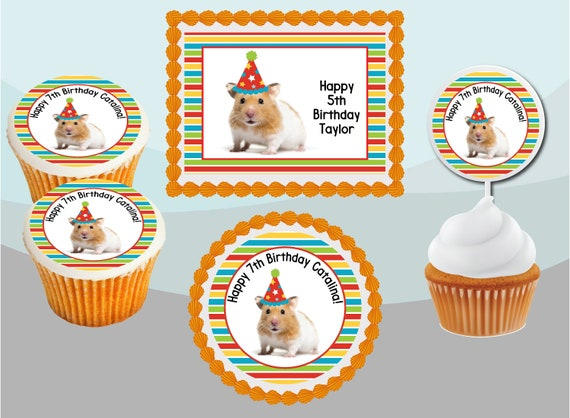 Personalised Acrylic Pet Gerbil Birthday Cake Topper Decoration