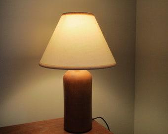 Teak table lamp with pink fabrics pliss\u00e9 hood years 60