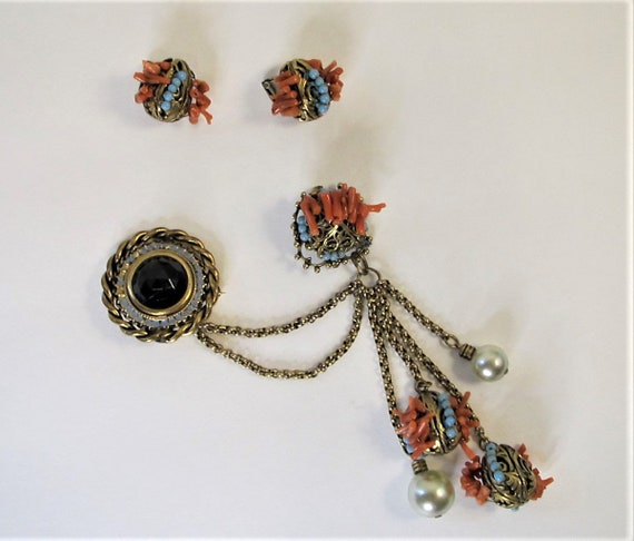 Adele Simpson Chatelaine Swag Brooch and Earrings