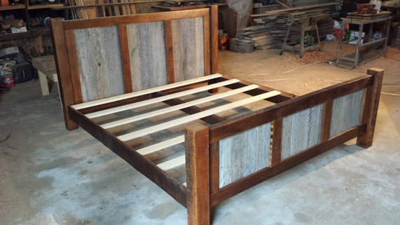 King Size Bed Frame With Wood Panels On Headboard And Etsy