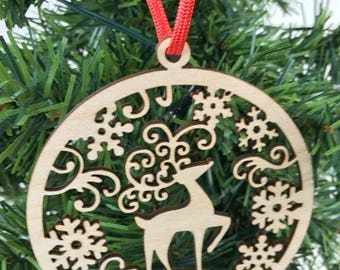 Family Ornament, Personalized Ornament, Family Name Ornament, Name Ornament, Year Ornament, Reindeer Ornament,