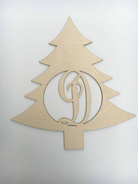 Christmas Tree Cut Out.Monogrammed Tree Tree Wood Cutout Custom Wood Cutout Wood Monogrammed Christmas Monogram Decor Monogrammed Decor Wooden Tree Cutout