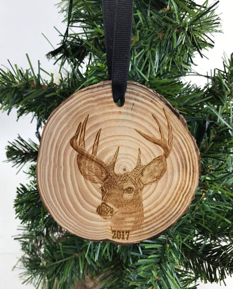 Year Ornament Hunter Gift Engraved Wood Ornament Hunting Ornament Wood Slice Ornament Deer Ornament Rustic Ornament