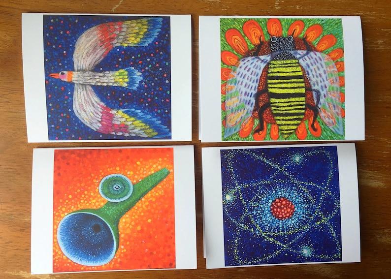 Bee, Bird, Kazoo, Atom- Set of 4 Folded Note Cards with Envelopes