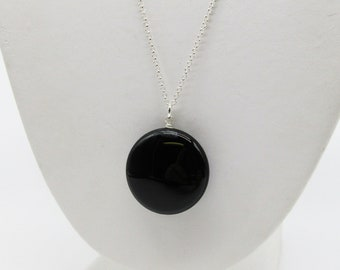 Silver Onyx Necklace Mother/'s Day Gift Sterling Silver Black Onyx Long Necklace Anniversary Gift Black Oval Cabochon Gemstone Pendant
