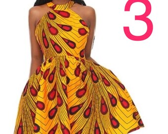 Dashiki ankara wax African print strapless dress with pockets