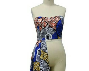 Dashiki ankara wax print tube top with train