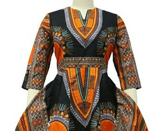 Dashiki ankara wax African print high low dress