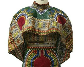 Dashiki ankara wax African print cape dress
