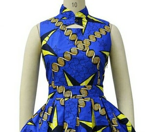 Dashiki ankara wax African print short sleeve short flare skirt dress