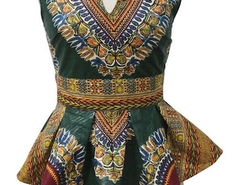 Dashiki ankara wax African print short sleeve top peplum top with