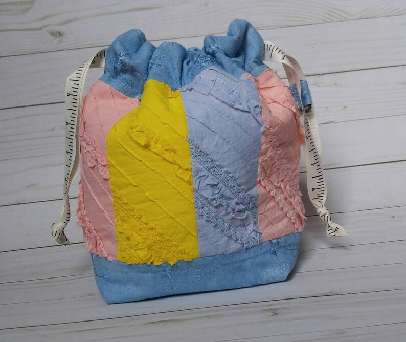 Patchwork Project Bag  medium  drawstring  notions  naturally dyed fabric  hand dyed  sample  prototype  SALE
