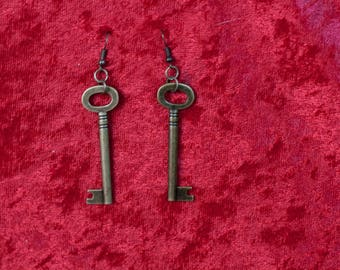 Steampunk Key Earrings