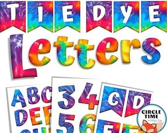 Printable Tie Dye Cut Out Letters, Rainbow Tie Dye Classroom Theme, Tie Dye Lettering for Bulletin Boards Classroom Displays, Tie Dye Banner