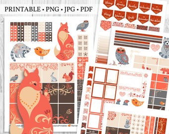 Printable Fall Planner Sticker Kit with Woodland Animals Autumn Theme, Fall Scrapbook Stickers, Thanksgiving Planner Stickers