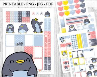 Printable Planner Sticker Kit for Winter with Penguins & Polka Dots Theme, Penguin Scrapbook Stickers, Penguin Planner Stickers