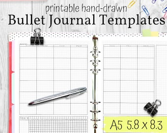 Printable Bullet Journal Templates, Hand Drawn Planner Inserts, A5 Size 5.8x8.3, PDF Instant Download Planner Refills Printable Bujo Pages