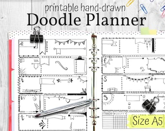 Doodle Planner, Hand Drawn Coloring Planner Inserts, A5 Size 5.8x8.3, Bullet Journal Doodle Style PDF Instant Download Planner Refills