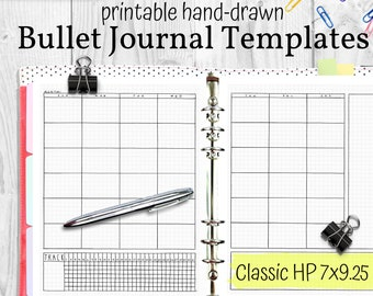 Printable Bullet Journal Templates, Hand Drawn Planner Inserts, Classic HP 7x9.25, PDF Instant Download Planner Refills Printable Bujo Pages