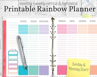 Printable Planner Rainbow Theme! Undated Monthly & Weekly Planner Pages, Horizontal Weekly Planner, Vertical Weekly Planner, Monthly Planner