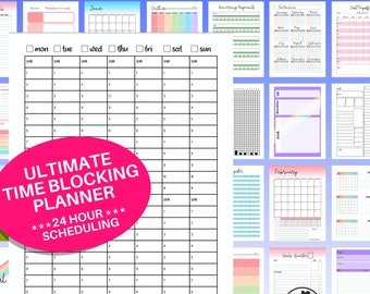 Ultimate Time Blocking Planner - PRINTABLE! 24 Hour Schedule, Daily and Weekly Timeblocking, Undated Rainbow and Gray Scale Planner, PDF