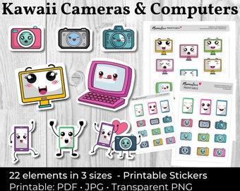 Printable Kawaii Stickers Cute Camera Computer Stickers Printable Camera Stickers Scrapbook Sticker Kawaii Planner Stickers iPhone Stickers