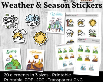 Printable Weather Stickers, Weather Decals, Season Stickers, Printable Weather Stickers, Seasons Scrapbook Stickers Weather Planner Stickers