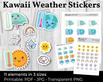 Printable Kawaii Stickers: Cute Kawaii Weather Stickers, Printable Sticker Kawaii Daily Weather, Scrapbook Stickers Kawaii Planner Stickers