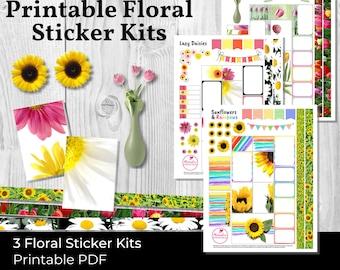 Printable Sticker Kit: Spring Theme, Floral Planner Stickers, Flower Stickers, Sunflower Stickers Flowers, Printable Stickers Spring