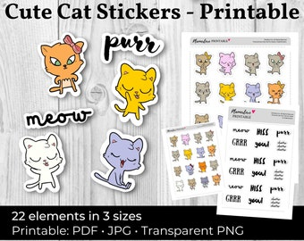 Printable Cute Cat Stickers: Printable Cat Stickers, Printable Stickers Cute Cats, Scrapbook Stickers Cute Cats Planner Stickers Cat Sticker