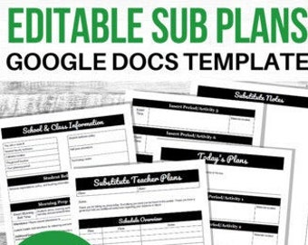 Editable Sub Plans, Substitute Teacher Plans, Sub Plan Template,  Casual Relief Teacher Notes, Substitute Folder, Google Docs