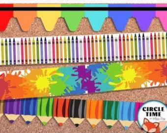 Printable Art Bulletin Board Borders, Art Classroom Decor, Art Classroom Display, Preschool Bulletin Board Borders Primary Classroom Display