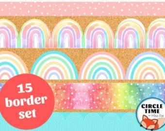 Rainbow Classroom Decor, Printable Bulletin Board Borders, Rainbow Borders, Rainbow Classroom Decorations, Classroom Display Border