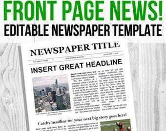 EDITABLE Newspaper Front Page Template, Google Docs Newspaper, Microsoft Word Newspaper, Student Newspaper Template, Virtual Project