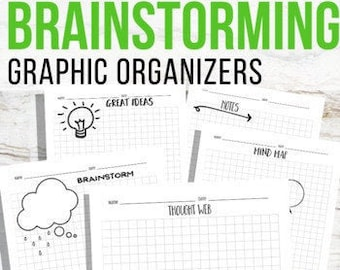 Printable Brainstorming Graphic Organizers, Ideas Worksheets, Blank Journaling Templates, Doodle Theme, Mind Map, Brain Dump, Thought Web