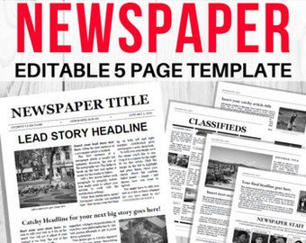 EDITABLE Newspaper Template / School Newsletter Template / Student Newspaper / Google Docs & Microsoft WordWord