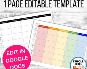 Google Docs Lesson Plan Template EDITABLE, Weekly Teacher Planner, Digital Lesson Planner, One Page Horizontal Layout