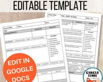 EDITABLE Lesson Plan Template in Google Docs, Digital Lesson Planner, Detailed Lesson Plan Page, Vertical, 1 page, Digital or Printable