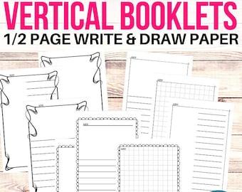 Printable Booklet Templates, Vertical Half Sheet Writing Paper Blank Journaling Template Mini Book Template Vertical Half Page Writing Paper