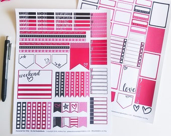 Pink Hearts 80s / 90s Inspired Printable Planner Stickers - Weekly Printable Kit Sized for Happy Planner, Digital Download, Valentine's Day