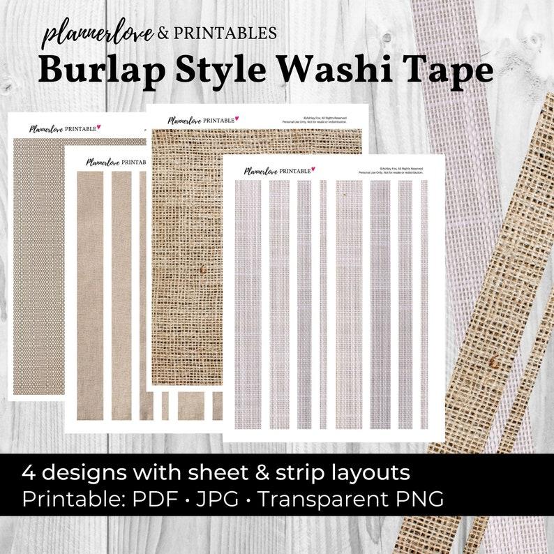 Printable Washi Tape: Burlap Tape Burlap Washi Printable image 0
