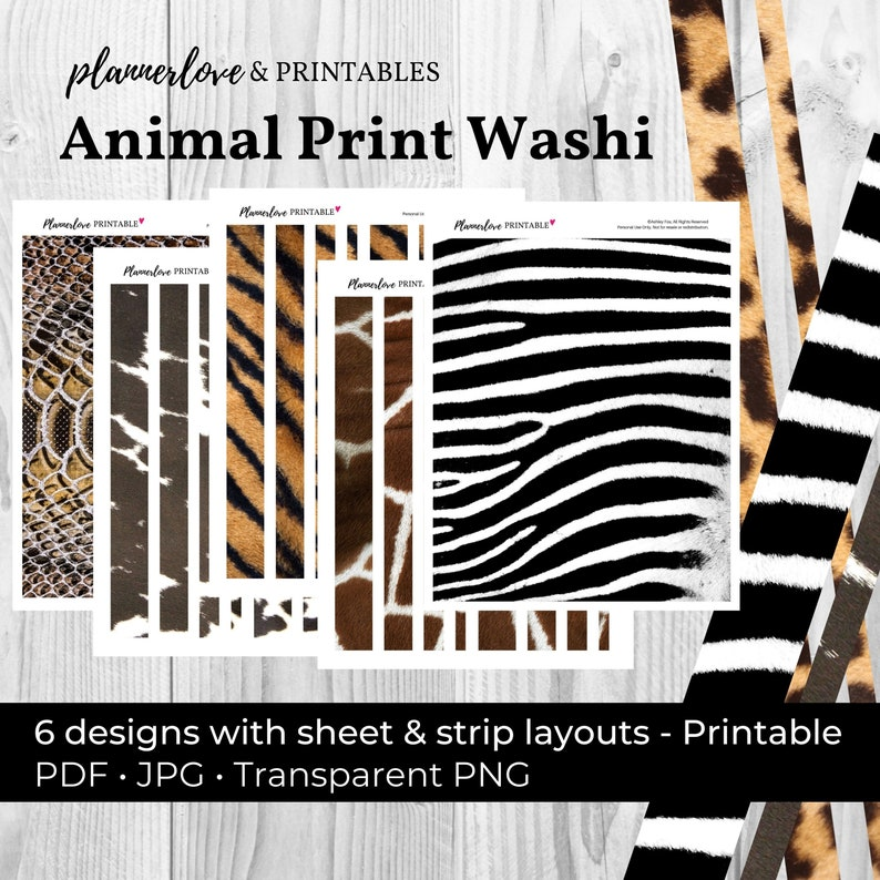 Printable Washi Tape: Animal Print Tape Animal Washi image 0